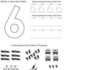 The Number Six- Counting and Printing Worksheet