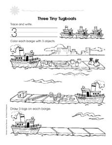 The Number Three: Three Tiny Tugboats Worksheet