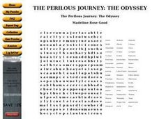 The Odyssey Word Puzzle Worksheet