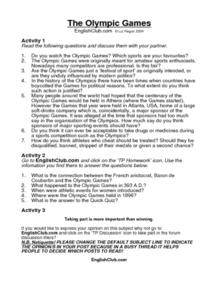 The Olympic Games Worksheet