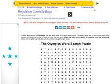 The Olympics Word Search Puzzle Worksheet