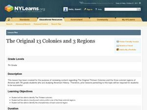 The Original 13 Colonies and 3 Regions Lesson Plan