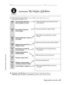 The Origins of Judaism Worksheet