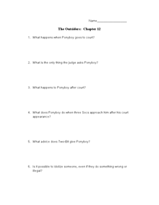 The Outsiders: Chapter 12 Lesson Plan