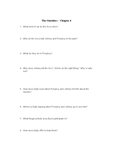 The Outsiders: Chapter 4 Lesson Plan