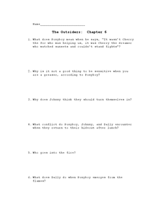 The Outsiders: Chapter 6 Lesson Plan