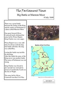 The Parliament Times - Big Battle at Marston Moor, 4 July 1644 Worksheet
