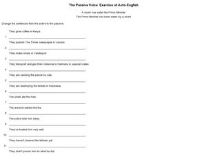 the passive voice exercise 6th 10th grade worksheet lesson planet. Black Bedroom Furniture Sets. Home Design Ideas