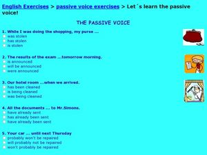 The Passive Voice Worksheet
