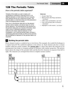 8th grade science worksheets periodic table