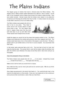 The Plains Indians Worksheet