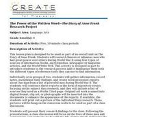 The Power of the Written Word-The Diary of Anne Frank Research Project Lesson Plan