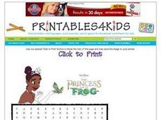 The Princess and the Frog Word Search Worksheet