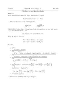 The Product and Quotient Rules Worksheet