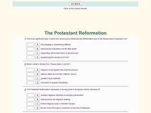 protestant reformation lesson plans Fill in the blanks on the following ten questions using the information presented in the prezi slide show, including the one open ended short answer question.