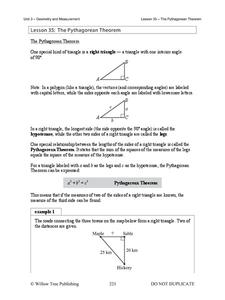The Pythagorean Theorem Lesson Plan