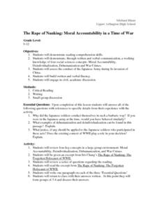 The Rape of Nanking: Moral Accountability in a Time of War Lesson Plan