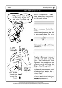 The Recorder - B Printables & Template