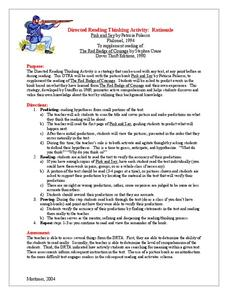 drta lesson plan Lesson plan # 1 directed reading thinking activity (drta) for david goes to school by david shannon literacy development level: emergent and beginning transitional description directed reading-thinking activity , or dr-ta, is a technique developed by russell stauffer (1969.