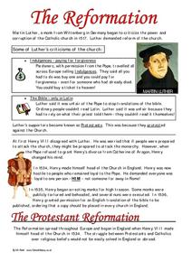 The Reformation Worksheet
