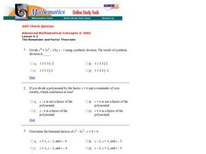 The Remainder and Factor Theorems Worksheet