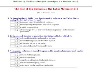 the rise of big business the labor movement 1 9th 12th grade worksheet lesson planet. Black Bedroom Furniture Sets. Home Design Ideas