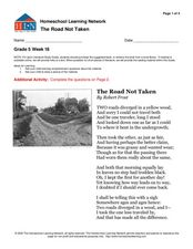 """The Road Not Taken""- Comprehension Worksheet"