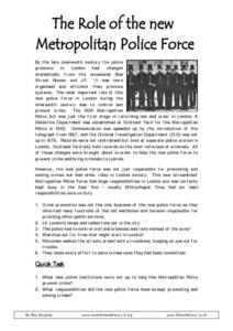 The Role of the New Metropolitan Police Force Worksheet