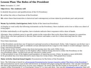 The Roles of the President Lesson Plan
