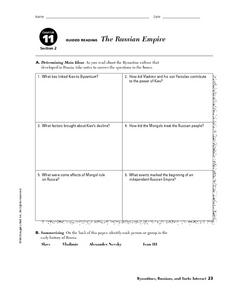 The Russian Empire Worksheet