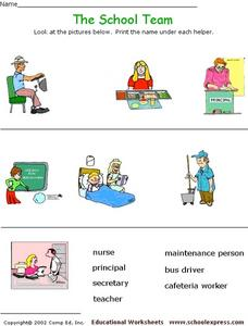 The School Team - Labeling Pictures Worksheet