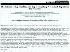 The Science of Papermaking and Paper Recycling: A Research Experience for Teachers Lesson Plan