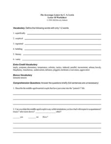 The Screwtape Letters by C.S. Lewis (Letter 10) Worksheet