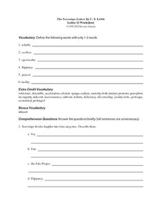 The Screwtape Letters by C.S. Lewis (Letter 11) Worksheet