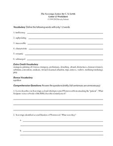 The Screwtape Letters by C.S. Lewis (Letter 13) Worksheet