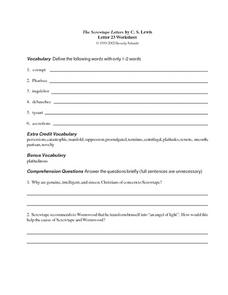The Screwtape Letters by C.S. Lewis (Letter 23) Worksheet