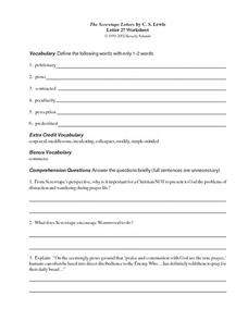 The Screwtape Letters by C.S. Lewis (Letter 27) Worksheet
