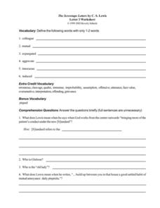 The Screwtape Letters by C. S. Lewis (Letter 3) Worksheet