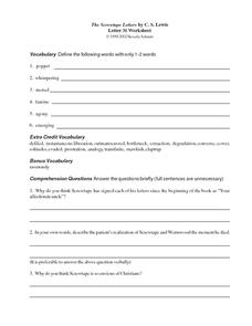 The Screwtape Letters by C.S, Lewis (Letter 31) Worksheet