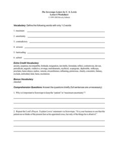 The Screwtape Letters by C. S. Lewis (Letter 6) Worksheet
