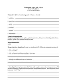 The Screwtape Letters by C. S. Lewis (Letter 8) Worksheet