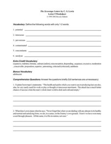 The Screwtape Letters by C. S. Lewis (Letter 9) Worksheet