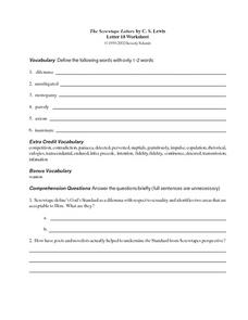 The Screwtape Letters by C.S. Lewis Worksheet