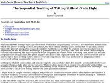 The Sequential Teaching of Writing Skills at Grade Eight Lesson Plan