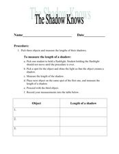 The Shadow Knows Lesson Plan