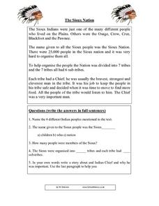 The Sioux Nation Worksheet