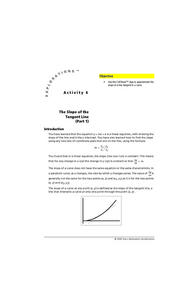 The Slope of the Tangent Line Lesson Plan