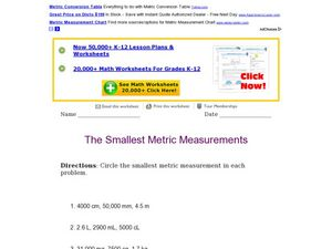 The Smallest Metric Measurements Worksheet
