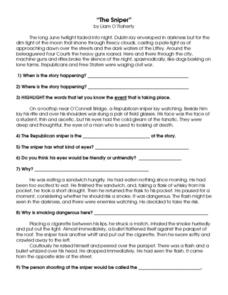 Printables Short Story Questions the sniper short story wquestions 8th 10th grade worksheet worksheet