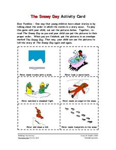 The Snowy Day Activity Card- Parent Instruction Worksheet Worksheet